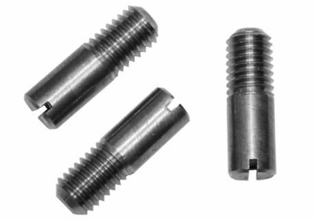 DIN 427 - drážka, částečný závit, plochý konec, A2