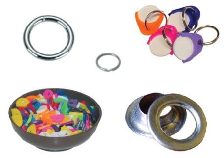 Kroužky klíčové, plachtové, svařované a doplňky