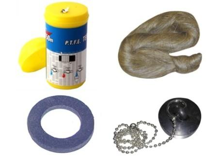 Těsnění, pásky, konopí, zátky, těs. gumové
