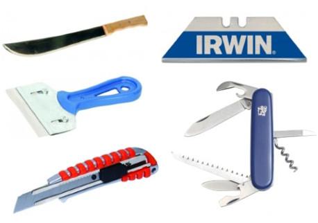 Nože, čepele, škrabky, mačety