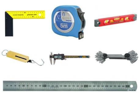 Metry, měrky, vodováhy, posuvná měřítka a další