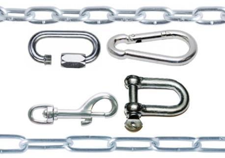 Řetězy, karabiny, třmeny, spojky řetězu